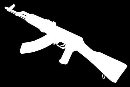Photo pour AK - 47 (AKM) assault rifle black silhouette - image libre de droit