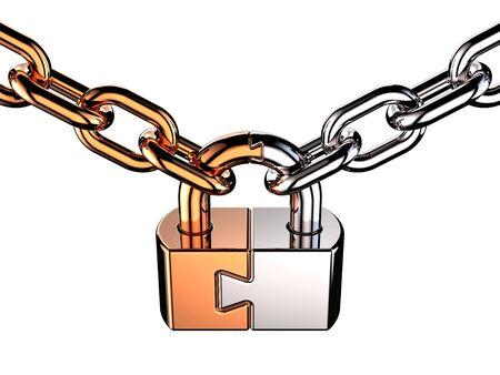 Photo pour Metallic shiny padlock as puzzle on chain. 3D render - image libre de droit