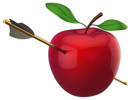 Photo pour Apple hit by arrow. 3D render (Hi-Res). Isolated on white - image libre de droit