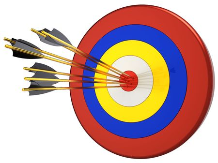Hit a target 100 percents. Seven arrows in bull's eye target. This is a detailed 3D render. Isolated on white background