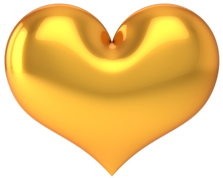 Golden Heart shape. Saint Valentine's day symbol. Love day luxury decoration element. This is a detailed 3D render (Hi-res). Isolated on white background