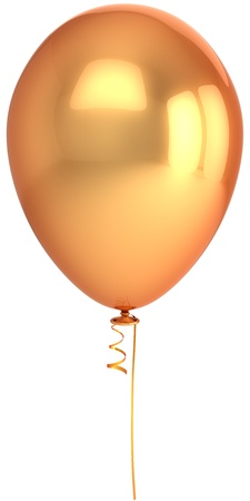Golden balloon. Beautiful metallic birthday decoration. Idea concept. This is a detailed 3D render (Hi-Res). Isolated on white background