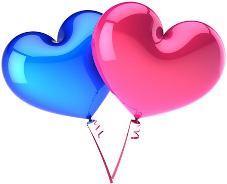Heart balloons couple colored blue and pink. Heterosexual Love abstract. Shiny romantic Valentines day decoration. This is a detailed three-dimensional render 3d (Hi-Res). Isolated on white background