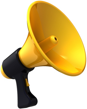 Megaphone news blog message. Shiny yellow black siren loudspeaker. Business idea announcement concept. This is a detailed render 3d (Hi-Res). Isolated on white background