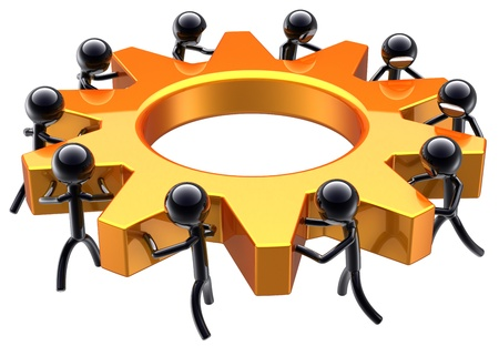 Teamwork business process. Partnership maximum efficiency result. Success of workers team concept abstract. Stylized shiny black peoples turning an golden gear wheel. Isolated on white background