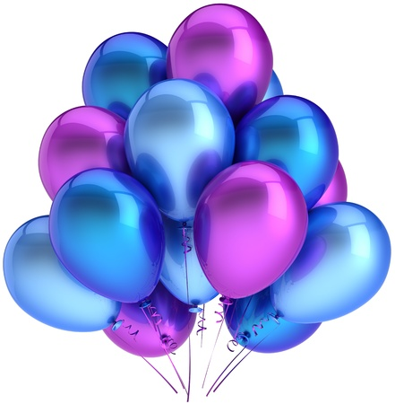 Party balloons colorful blue cyan purple. Modern shiny decoration for holiday birthday celebration. Happiness joyful positive emotions abstract. High quality 3D render. Isolated on white background