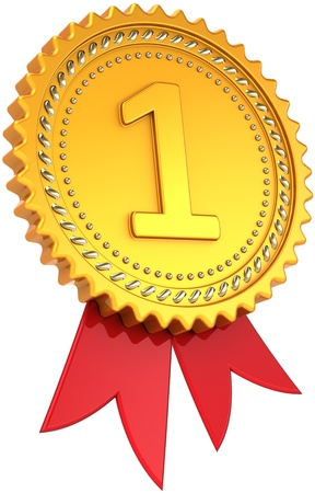 First place golden award with red ribbon. Achievement winner medal. Champion pride design element template classic. This is a high quality CG three-dimensional 3d render. Isolated on white background