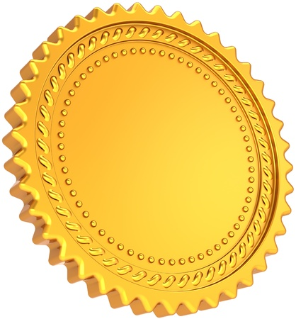 Photo pour Golden seal award medal blank. Shiny luxury champion badge bonus label. Certificate guarantee design element template. This is a detailed CG image 3d render. Isolated on white background - image libre de droit