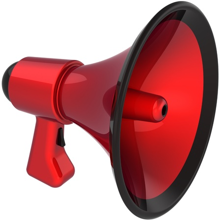 Megaphone communication announcement blog colored red black. Bullhorn loudspeaker news message symbol. Danger notify concept. This is a detailed CG image 3D render. Isolated on white background