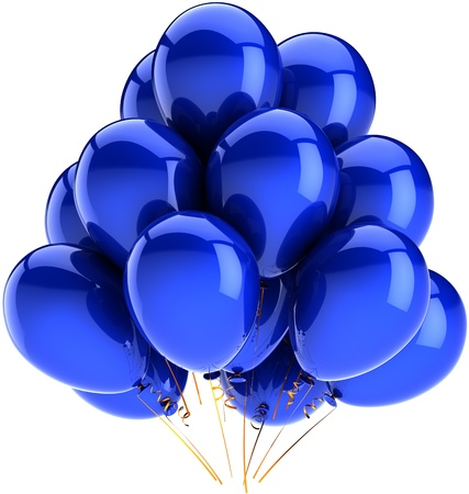 Balloons birthday party holiday decoration colored blue. Happy fun joy abstract. Contemporary anniversary celebration greeting concept. Detailed CG image 3d render. Isolated on white background