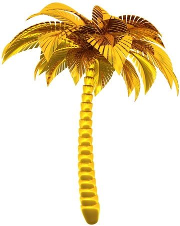 Foto de Golden palm tree single stylized tropical nature symbol. This is a detailed CG image 3d render image. Isolated on white background - Imagen libre de derechos