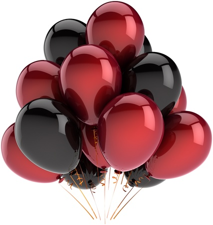Party balloons decoration of birthday multicolor deep red and black. Fun happy joy abstract. Holiday festival celebration concept. Detailed 3D render. Isolated on white background