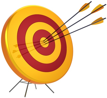 Business target success shooting concept. Accuracy archery arrows sniper hitting of bulls eye. Detailed 3d render. Isolated on white background