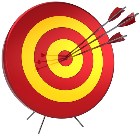Success target lucky shooting concept. Hitting by three arrows in bulls eye. Perfectly accuracy sniper win. Detailed 3d render. Isolated on white background