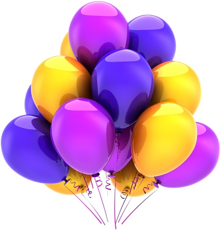 Balloons birthday party multicolor decoration blue purple yellow. Happy holiday abstract. Anniversary celebration graduation greeting card concept. Detailed 3D render. Isolated on white background