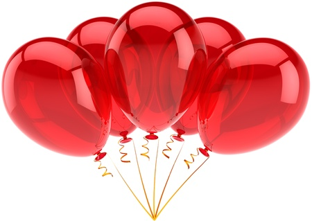 Happy Birthday Balloons Red Party Decoration Of Holiday Celebration Anniversary Retirement Occasion Graduation Concept