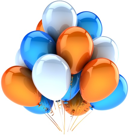 Party balloons happy birthday decoration of celebrate orange blue white. Joy fun friendly abstract. Holiday anniversary celebration greeting card concept. Detailed 3d render. Isolated on background