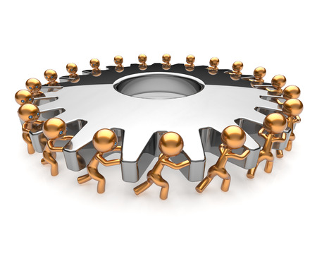 Foto de Partnership business process teamwork turning gearwheel action team work hard job men together. Brainstorming cooperation assistance activism community unity concept. 3d render isolated on white - Imagen libre de derechos