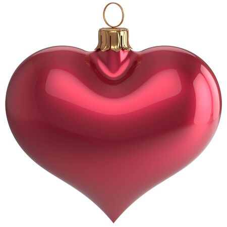 Heart shape Christmas ball New Year's Eve love bauble decoration red blank adornment. Merry Xmas traditional wintertime holidays ornament. 3d render isolated on white background