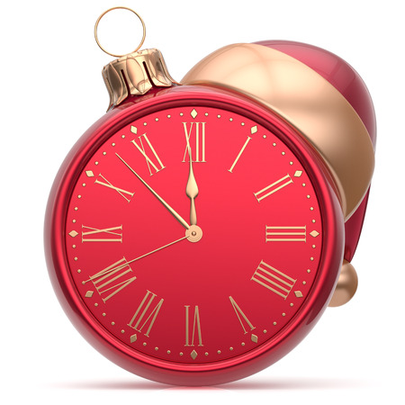 New Year's Eve clock Santa hat Christmas ball decoration bauble ornament red golden. Traditional wintertime holidays midnight hour countdown beginning time future symbol adornment. 3d render isolated