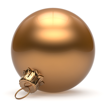 Christmas ball New Year's Eve bauble wintertime decoration golden sphere hanging adornment classic. Traditional winter ornament happy holidays Merry Xmas event symbol glossy blank. 3d render isolated