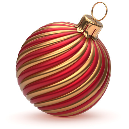 Photo pour Christmas ball New Year's Eve decoration golden red shiny convolution lines bauble wintertime hanging adornment souvenire. Traditional ornament happy winter holidays Merry Xmas symbol. 3d render - image libre de droit