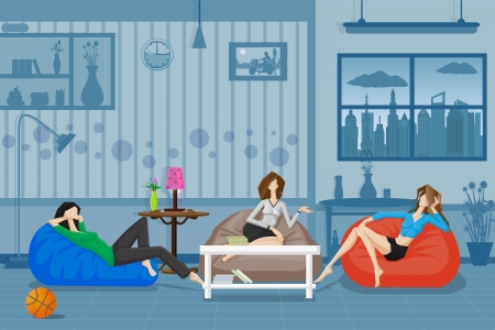 Illustration pour Women Chatting and Relaxing in Couch - image libre de droit