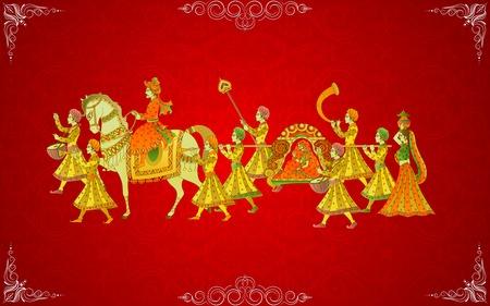 Foto de easy to edit vector illustration of Indian Wedding Card - Imagen libre de derechos