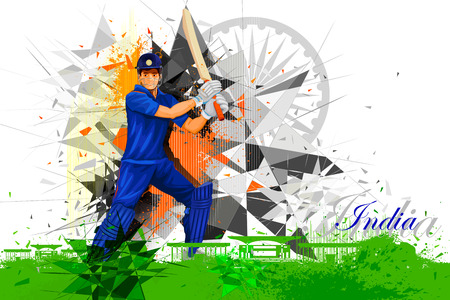 illustration of cricket player from India