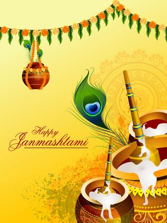 Illustration Of Happy Janmashtami Background With Hindi Text