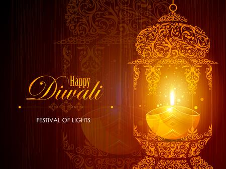 Ilustración de Decorated for Happy Diwali background - Imagen libre de derechos