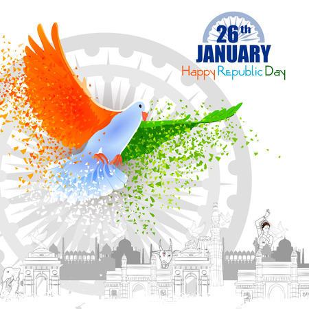 Illustration pour easy to edit vector illustration of Monument and Landmark of India on Indian Republic Day celebration background - image libre de droit