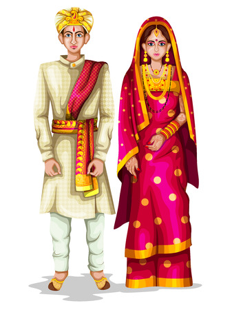 Illustration pour easy to edit vector illustration of Karnatakan wedding couple in traditional costume of Karnataka, India - image libre de droit