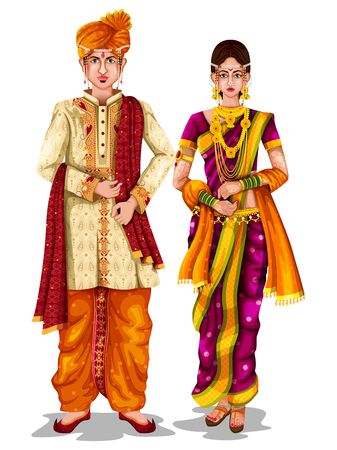 Illustration pour easy to edit vector illustration of Maharashtrian wedding couple in traditional costume of Maharashtra, India - image libre de droit