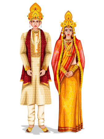 Illustration pour Odia wedding couple in traditional costume of Odisha, India - image libre de droit