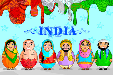 Illustration pour Nested Doll Indian couple representing diverse culture from different States - image libre de droit