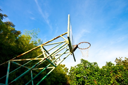 Basketball basket on blue sky background