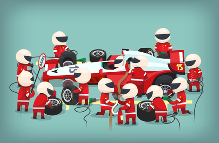 Colorful illustration with pit stop workers and engineers maintaning technical service for a racing car during a motor racing event.