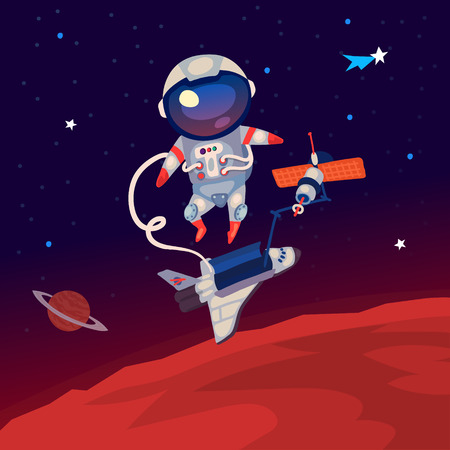 Illustration with an astronaut floating in outer space over Mars near the space station and shuttle.