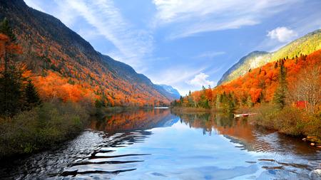 Autumn landscape in Parc de la national  Jacques Cartier