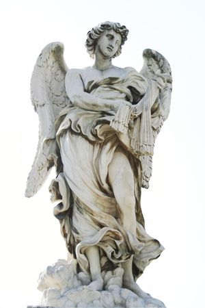 Marble angel by Giovanni Bernini on the Sant'Angelo bridge in Rome,Italy