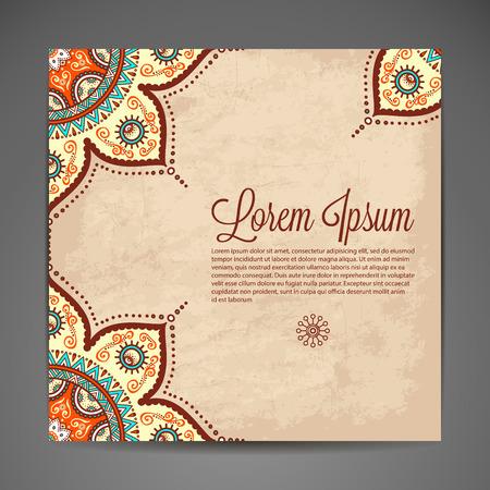 Foto de Elegant Indian ornamentation on a dark background. Stylish design. Can be used as a greeting card or wedding invitation - Imagen libre de derechos