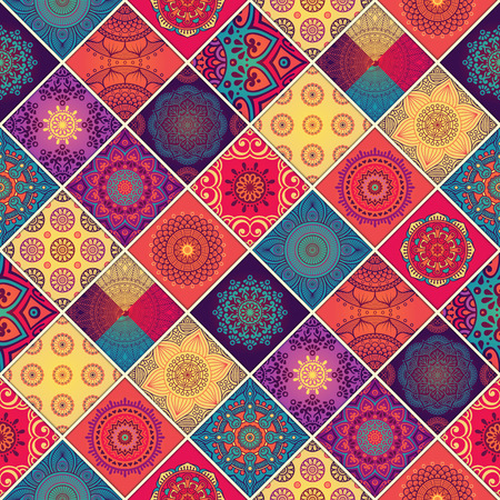 Ilustración de Ethnic floral seamless pattern. Abstract ornamental pattern - Imagen libre de derechos