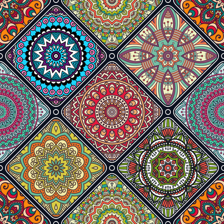 Illustration pour Ethnic floral seamless pattern. Abstract ornamental pattern - image libre de droit