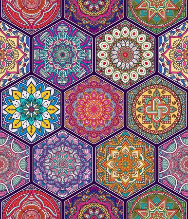 Illustration pour Ethnic floral seamless pattern. Abstract ornamental pattern - image libre de droit