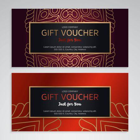Illustration pour Vector set of luxury red gift vouchers. Elegant template for a festive gift card - image libre de droit