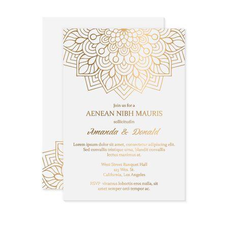Photo pour business cards. Vintage decorative elements with mandala. - image libre de droit