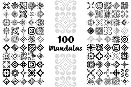 Illustration pour Set Round Ornament Pattern. Vector mandalas - image libre de droit