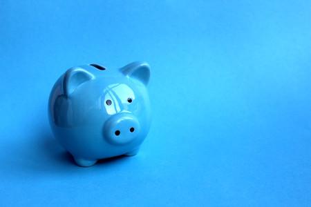 Blue piggy moneybox on blue background a symbol of 2019