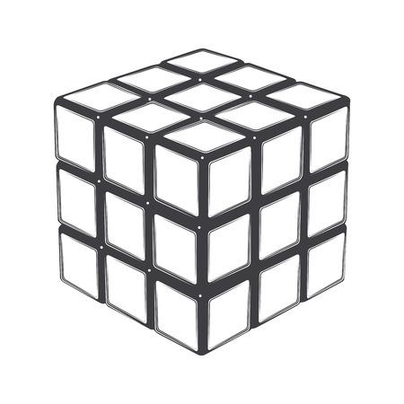 Rubik\'s cube isolated on a white background. Line art. Modern design. Vector illustration.